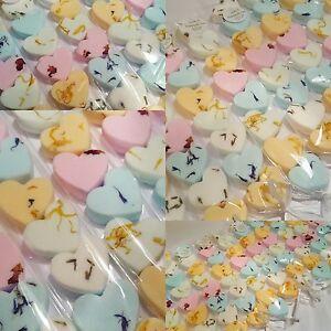 30 x MINI LOVE HEARTS mini bath bombs Lavender Rose Orange Mango Baby powder