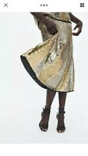 Zara Limited Edition Golden Sequin  Beaded Skirt M Bnwt