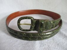 Oggi genuine authentic green American alligator covered buckle dress belt Large