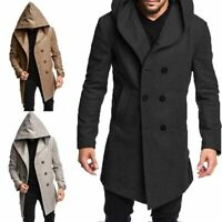 Men Winter Warm Overcoat Hoodie Coat Trench Tops Outwear Peacoat Long Jacket