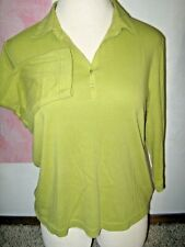 STUDIO WORKS Lime Green Point Collar Button Chest V Neck 3/4 Sleeve Knit Top XL