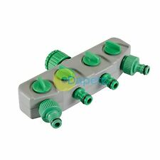 "Male 4-Way Tap Connector - 3/4"" & 1/2"" Includes Shut-Off Valve To Each Outlet"