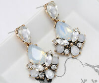 1 Pair Elegant White Crystal Rhinestone  Ear Drop Dangle Stud long Earrings 153