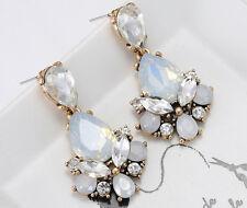 1 Pair Elegant White Crystal Rhinestone  Ear Drop Dangle Stud long Earrings 153
