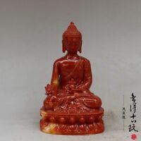 Collection Old China hand-carved shoushan stone Medicine Buddha statue sculpture