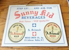 IROQUOIS BEVERAGE SUNNY KID BROAD-SMITH A. SCHWAB BEER ALE LABEL SIGN BUFFALO NY