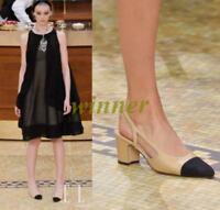 Pumps Spring Womens Suede Leather Slingbacks Sandals Party Block heels Shoes sz