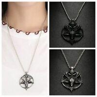 Vintage Alloy Unisex Luck Pan God Pentagram Goat Head Skull Pendant Necklace