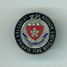 OBSOLETE - LEICESTER PRIVATE FIRE BRIGADES ASSOC. WHITE METAL & ENAMEL BADGE