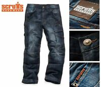 MENS SCRUFFS 3D VINTAGE TRADE DENIM WORK JEANS TROUSERS KNEE PAD POCKETS WORKER