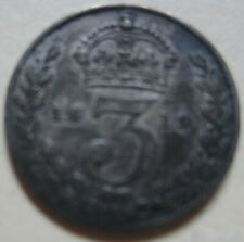 1913 Great Britain SILVER THREE PENCE Coin. BETTER GRADE (W147)