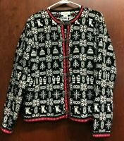 Talbots Black White Cardigan Sweater Medium Snowflake Pewter Clasps Christmas