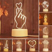 USB 3D LED illusion Night Light Lamp Bedroom Child Gift Festival Surprise Toys Z
