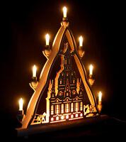 Schwibbogen Lichterspitze 54cm Dresdner Frauenkirche + Vorbeleuchtung Erzgebirge