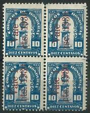70779 -  HONDURAS - STAMPS:  1930 Block of 4 with OVERPRINT ERROR on 1 stamps!
