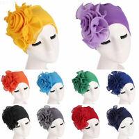 Women Hair Loss Heads Scarf Turban Cap Big Flower Muslim Cancer Chemo Hat Covers