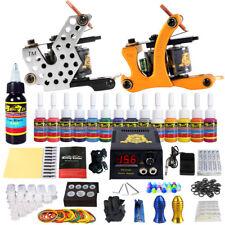 Complete Tattoo Kit 2 Machine Gun Set 14 Inks Power Supply needles Tip TK212
