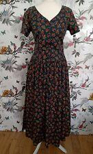 *Vintage Laura Ashley* Black Cotton Floral Dress Size 14 Victorian Edwardian