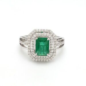 1.72 TCW Emerald Gemstone Ring 18k White Gold SI/HI Diamond Handmade Jewelry NEW