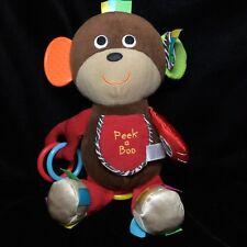 "Carters Peek A Boo Monkey Plush Soft Toy Rattle Sensory Teether Stuffed 12"""