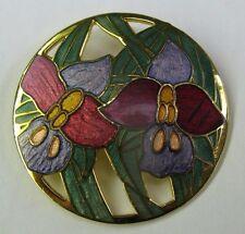 Vintage Gold Toned Multi-Colored Floral Flowers Cloisonne Enamel Brooch