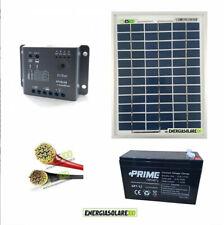 Kit pannello solare 5W 12V batteria 7Ah cavi 2.5mmq PVC