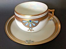 German J & C Bavaria Hand Painted Heavy Gold TrimTea Cup and Saucer - Excellent