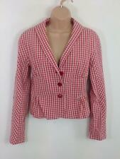 WOMENS MOSCHINO CHEAPANDCHIC RED CHECK FITTED SMART SUIT SHORT JACKET  UK 10