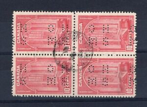 Canada 1938 - 10c Pictorial Issue - OHMS Perfin - USED BLOCK - CDS Cancel -