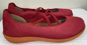Loints Of Holland 42 Size 11.5 Red Loafers Leather Slip On Elastic Straps
