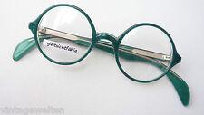 Atair runde Brillenfassung grün Pünktchenmuster Marken Brille Plastik Grösse S