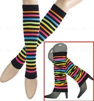 80's 80s disco dance costume Leg Ankle Knee Arm Warmers Striped Bright Rainbow
