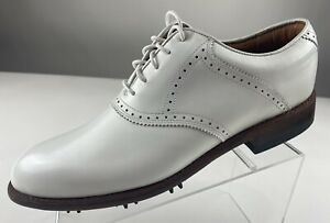 JUSTIN Golf Classic Saddle Brogue White Leather JG101 Shoes Men 10.5 N NEW
