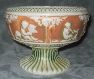 Antique Roseville Donatello Green Brown Ivory Pedestal Bowl Compote 1915