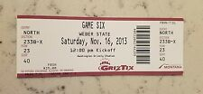 Montana Grizzlies Weber State Wildcats Football Ticket 11/16 2013 Stub