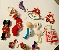 Lot 12 Vintage Christmas Ornaments Japan Flocked Felt Pixie Santa Soldier Mouse