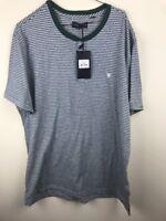 Five Four Men's Henley T Shirt Size XL Green Stripe NWT