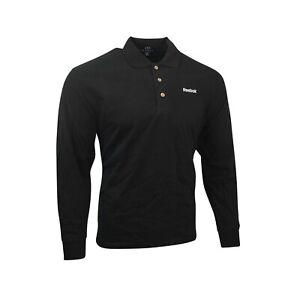 Reebok  Men's Black Official Logo Long Sleeve Polo Shirt