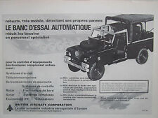 1970'S PUB BRITISH AIRCRAFT BANC D'ESSAIS AUTOMATIQUE LAND ROVER FRENCH AD