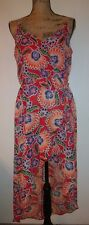 NEW IZ Byer Womens Size XL Red Floral Faux Wrap High Low Silky Summer Dress