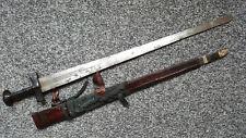 Antique Old Africa African Tuareg Takouba Takuba Sword with Leather Scabbard