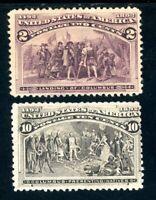USAstamps Unused FVF US 1893 Columbian Expo Scott 231 OG MLH, 237 RG NH