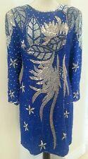 AMERICAN NIGHT Beaded Sequined Silk Cobalt Blue & Silver Vtg Coctail Dress Sz XL