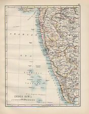 1899 VICTORIAN MAP ~ INDIA SOUTH WEST ~ MADRAS MYSORE BOMBAY