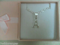 Initial Necklace Letter A - Z Silver Plated  Gift Boxed