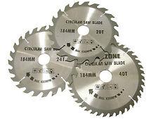 3piece 184mm TCT Lames de scie circulaire avec anneaux Adaptateur - 185mm