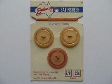 1950s Vintage Med Orange Moonglow Rim Lucite Buttons in Card/Thread-23mm