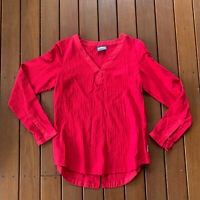 Kathmandu Size 10 Red Blouse V Neck Long Sleeves Roll Up Business Casual