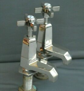 ART DECO NICKEL BASIN TAPS VINTAGE BATHROOM TAPS RECLAIMED, FULLY REFURBISHED