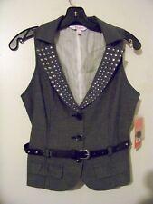 NWT! Womens/Juniors Size 5 Candies Gray/Black Rhinestones Dressy Vest w/Belt NEW